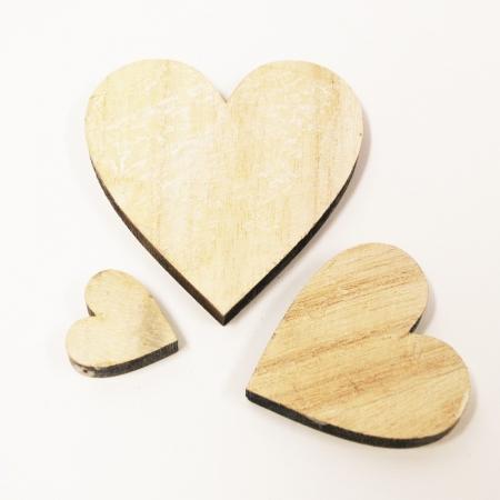 Holzherzen gemischt natur 30 stk streuteile holz tischdeko for Holzherzen deko