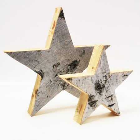 Holzstern stehend natur zwei gr en stern aus holz weihnachts deko stern ebay - Weihnachtliche schaufenstergestaltung ...